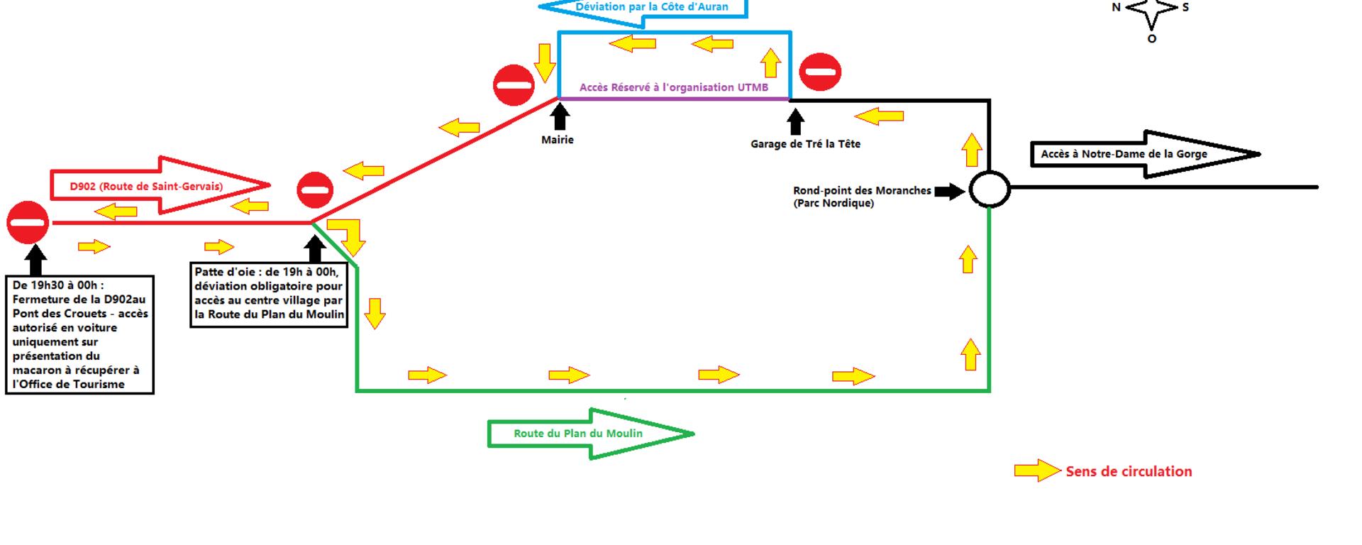 Schéma de circulation - vendredi 30 août - UTMB Les Contamines-Montjoie