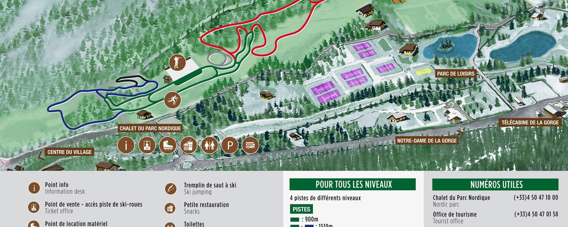 Plan de la piste de ski roues - Les Contamines-Montjoie