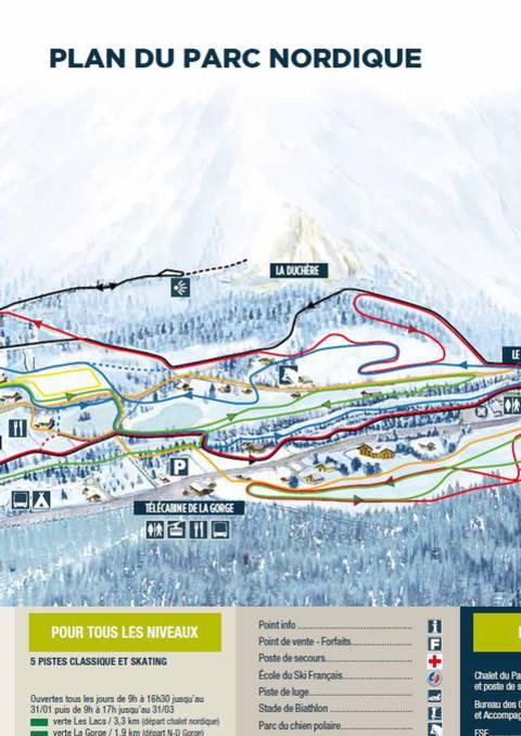 Plan du domaine nordique et itinéraires raquettes